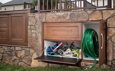 From storing seat cushions to keeping the drinks cold and the hose out of sight, Trex Outdoor Storage can make your outdoor space look as put-together as the rest of your home. If you need storage on your deck, Trex has got you covered!