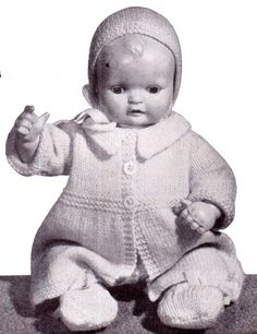 Genuine Vintage Dolls Clothes Outdoor Wardrobe Sets for Boys and Girls Knitting pattern PDF