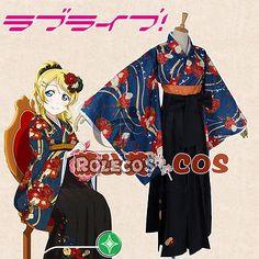 Love-Live-Ayase-Eli-Kimono-Yukata-Dress-Maid-Outfit-Uniform-Cosplay-Costumes