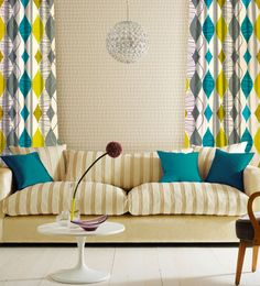 Gray Yellow Teal Curtains