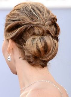 Updo Hairstyles For Short Hair - Low Solid Highlighted Updo