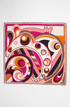 Emilio Pucci 'Circle Stripes Timeless' Silk Scarf | Nordstrom Also <3 Pucci Retro Fabric, Silk Art, Scarf Design, Psychedelic Art, Linocut Prints, Emilio Pucci, Fabric Painting, Abstract Pattern, Print Patterns