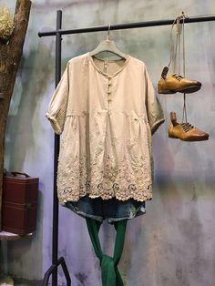 2017 Summer V-Neck Crochet Lace Blouse Chinese Button Loose Top    #blouse #loose #lace #Chinese #vneck #top #over50 #elderly #senior #linen