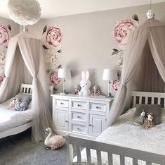 Twin Girl Bedrooms, Girls Bedroom, Room Design Bedroom, Bedroom Decor, Princess Room, Princess Canopy, Little Girl Rooms, Home And Deco, Cool Furniture
