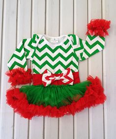 Loving this Red & Green Chevron Holiday Dress - Infant on #zulily! #zulilyfinds