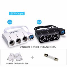 check discount new 3 sockets way car dual 2 usb car charger cigarette lighter splitter power #plastic #engineering