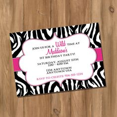 3 Spa Girls Hot Pink Zebra Birthday Party by sweetheartpartyshop