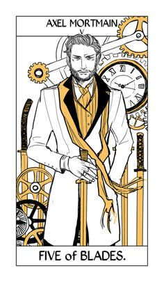 The five of blades, representing the dangers of ambition: Axel Mortmain. Shadowhunter Tarot by Cassandra Jean