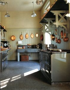 ::Surroundings::: Linda's Kitchen: Let there be light and contemplating copper Barn Kitchen, Kitchen Pantry, Country Kitchen, Kitchen Dining, Rustic Kitchen, Nice Kitchen, Copper Kitchen, Awesome Kitchen, Beautiful Kitchen