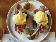 Onsen Egg, Sesame Bagel, Breakfast Around The World, Eggs Florentine, Egg Styles, Rosemary Potatoes, Avocado Cream, First Bite, Butter Sauce