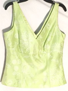MAGGY LONDON 100% Silk Celery Crossover Top - White Embroidered Flowers - Size 6 #MaggyLondon #TankCami #maggy #london #green #celery #silk #floral #flowers #6 #top #blouse