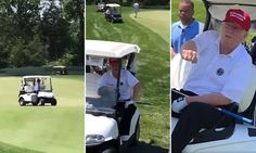 Trump caught on camera breaking golfing etiquette by driving on green