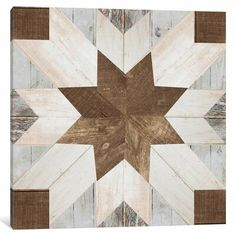 Add a mesmerizing quilting print to your rustic wall decor with our Barn Quilt I Canvas Art Print. This version trades the fabric for faux wood blocks! Barn Quilt Designs, Barn Quilt Patterns, Quilting Designs, Quilting Stencils, Square Patterns, Block Patterns, Rustic Walls, Rustic Wall Decor, Farmhouse Decor