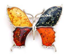 Broszka motyl z bursztynem w czterech kolorach. Amber Brooch Butterfly.