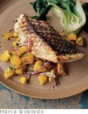 Recipe for Nina Simond's grilled fish with mango salsa, as seen in the February 2005 'O, the Oprah Magazine.'