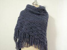 Dark Gray crochet shawl