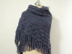 Dark Gray crochet shawl by NRWhandmade on Etsy, $65.00