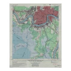 New Orleans Louisiana Map ~ Vintage 1954 Poster