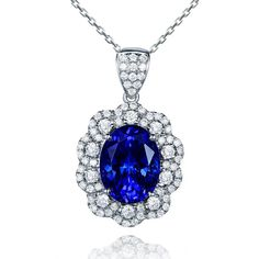 Stunning 3.95ct Natural Blue Tanzanite in 18K Gold Pendant by CHARMES Jewellery