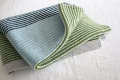 Purl Stripe Small Blanket Green by Nicola