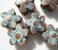 Mykonos Greek Patina'd Cast Daisy Flower Beads by MugsysBeads, $7.95