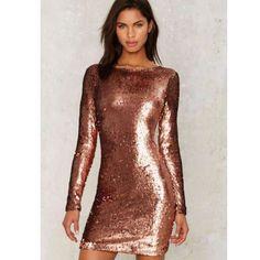 Motel Copper Sequin Dress