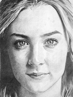 Saoirse Ronan graphite pencil drawing