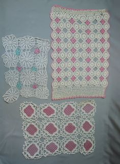 5 Crochet Doilies, Pink, Aqua and Orange, Vintage Home 1960s, Handmade, some flaws - Dandelion Vintage