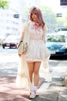 Cult party kei, pink pastel hair, Japanese street fashion