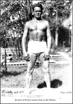 Joseph Pilates posing in August 1937, age 57. #pilates #history #photography