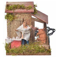 Carnicero 10 cm. movimiento belén | venta online en HOLYART Villas, Diorama, Texture, Wood, Model, Crafts, Inspiration, Births, Roof Tiles