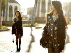 Vintage Sequin Star Dress, Mink Pink Shag Cardigan, Alexander Wang Velvet Boos, Chanel Matryoshka Doll