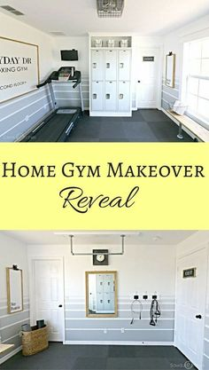 Home Gym Makeover Reveal - Sawdust 2 Stitches - Awesome striped ombre walls in home gym workout room - Home Gym Set, Home Gym Decor, Gym Room At Home, Best Home Gym, Diy Home Gym, Home Gym Basement, Home Gym Garage, Basement Remodeling, Basement Ideas