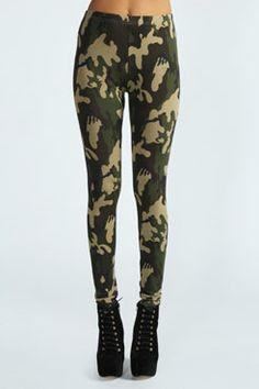 Rhiannah Camouflage Leggings at boohoo.com