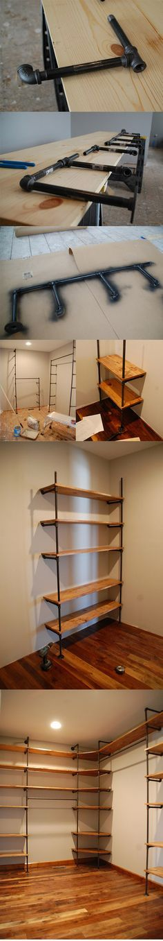 DIY :: piping and wood shelving for closets ( http://diydiva.net/2011/05/when-your-closet-is-nicer-than-your-living-space/ )... this would be awesome for a studio space!