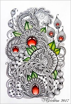 Zentangle art, gems zentangle, graphic, zentangle inspired, zenart, artdrawing, artnet, pattern, tangle, abstract, design, graphic, Drawing Illustration, liner, watercolor_Viktoriya Crichton_Ukraine_