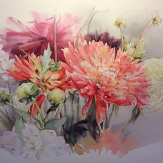 No photo description available. Watercolor Pictures, Watercolor And Ink, Watercolour Painting, Watercolor Flowers, Watercolors, Art Floral, Art Aquarelle, Fruit Painting, Leaf Art