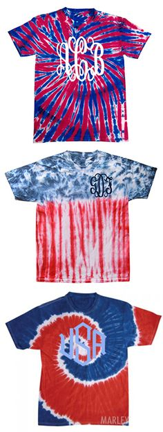 Monogrammed Patriotic Tie Dye T-Shirt from Marleylilly.com