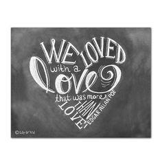 Edgar Allan Poe Heart (Print) - Lily & Val Love their chalkboard art aesthetic!