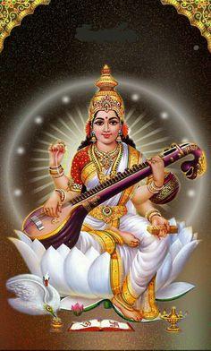 Lord Saraswati, Saraswati Mata, Saraswati Goddess, Durga Maa, Shiva Hindu, Shiva Art, Hindu Deities, Krishna Radha, Durga Images