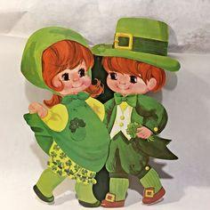 Vtg St Patricks Day Decoration Decor Die Cut Cardboard Dancing Lad Lass Dennison