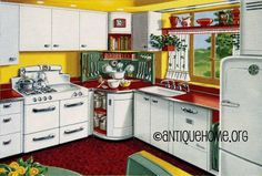 https://flic.kr/p/4mtU5u | Mixing Corner - 1950s Kitchen Design in Red and Yellow | Cheerful red and yellow kitchen from the 1950's.  Modern Ranch House Plans