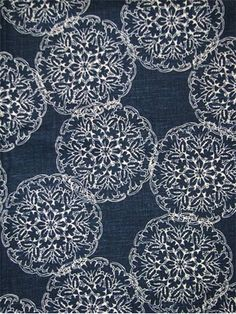 "Danda Indigo:John Robshaw Designer Fabric - Blockprint Textiles. Perfect drapery fabric or light use upholstery fabric. 55% linen, 45% rayon. Repeat: V: 13.5 H: 13.875, Duraguard finish. Made in U.S.A. 21034-193. 54"" wide"