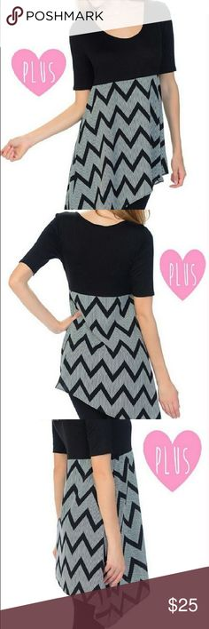 "Bellino Asymmetrical Tunic - Plus Size 3x Love Love Love this top! So much so, that I am keeping one for myself:) It is so figure flattering, comfy, and the chevron printed part does not cling. ⭐️It is black and white, and the zig-zags are comprised of little white dots. (See pic #4). The top part is stretchy. ⭐️Material: Polyester/Rayon/Spandex. ⭐️Measurements: 24"" armpit to armpit; 48"" waist; and the long side is 43"" and the shorter side 32"". Made by Bellino Clothing and is Size 3x…"
