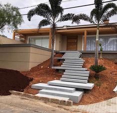 though the process of decorating your house is thrilling, it moreover comes as soon as its fair part of challenges. Yard Design, House Design, Modern Driveway, Landscape Stairs, Front Stairs, Outdoor Steps, Garden Stairs, Exterior Stairs, Backyard Projects