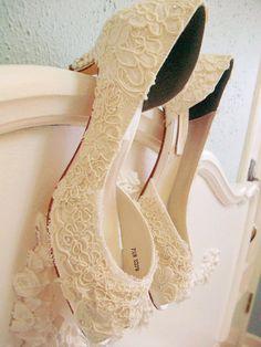 Vintage Antique Lace Wedding Shoes