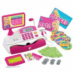 Isabelle loved this Barbie Cash Register because the speaker kinda actually works. Now she can say things like, 'Clean up on aisle please.' and 'Number your order is ready.' And, it sounds legit. Gifts for girls Board: Kids Toys Barbie Shop, Barbie Dolls, Toys R Us, Kids Toys, Dango Peluche, 4 Year Old Girl, Baby Girl Toys, Boy Toys, Baby Girls