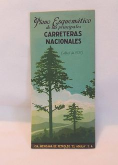 Vintage 1937 Mexico Carreteras Nationases Aguila Gas Oil Highway Road Map.. Great Graphics!