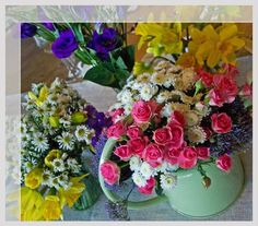 Lovely flowers; different flowers, different vases/pots, lots of colour
