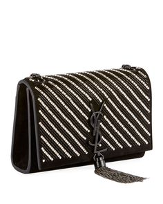545cc6e2c618 Saint Laurent Kate Small YSL Monogram Tassel Crossbody Bag with Crystal  Stripes